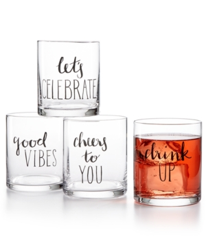 Closeout! The Cellar Words 4-Pc. Old Fashioned Glass Set, Created for Macy's