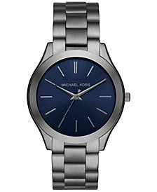 Unisex Slim Runway Gunmetal Stainless Steel Bracelet Watch 44mm, Created for Macy's