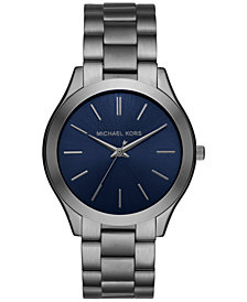 Michael Kors Unisex Slim Runway Gunmetal Stainless Steel Bracelet Watch 44mm, Created for Macy's