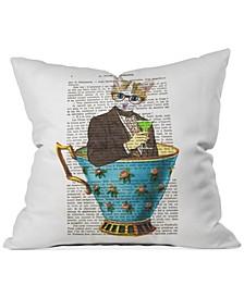 """Coco de Paris Cat in a Cup 2 16"""" Square Decorative Pillow"""