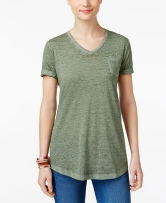 Image of Style & Co V-Neck Burnout Pocket T-Shirt, Created for Macy's