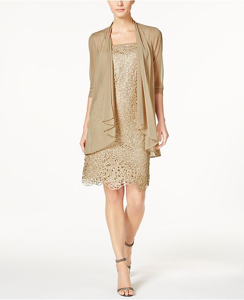 R & M Richards Petite Metallic Sheath Dress and Draped Jacket