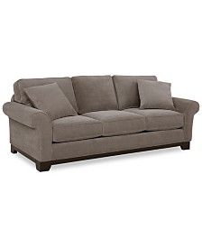 """Medland 89"""" Fabric Roll Arm Sofa with 2 Pillows, Created for Macy's"""