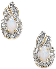 Opal (5/8 ct. t.w.) & Diamond (1/4 ct. t.w.) Stud Earrings in 14k Gold
