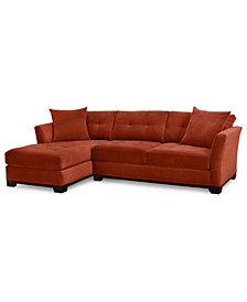 Elliot 2-Piece Fabric Microfiber Chaise Sectional Sofa - Custom Colors, Created for Macy's
