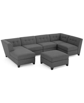 harper fabric 6piece modular sectional sofa with chaise u0026 ottoman created for macyu0027s