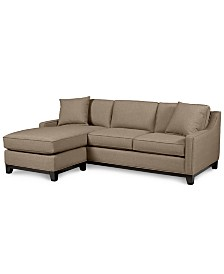 """Keegan 90"""" 2-Piece Fabric Reversible Chaise Sectional Sofa"""