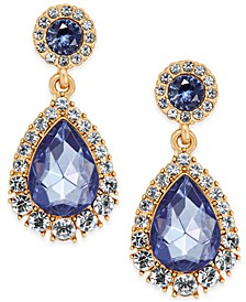 Gold-Tone Crystal & Purple Stone Drop Earrings, Created for Macy's