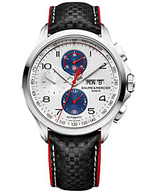 Baume & Mercier Men's Swiss Automatic Chronograph Clifton Club Black Leather Strap Watch 44mm - Limited Edition