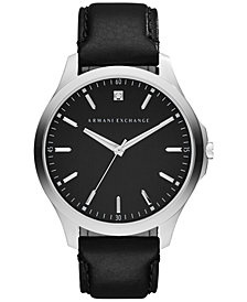 A|X Armani Exchange Men's Diamond-Accent Black Leather Strap Watch 46mm