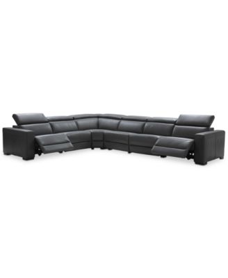 "Nevio 6-pc Leather ""L"" Shaped Sectional Sofa with 2 Power Recliners and Articulating Headrests, Created for Macy's"