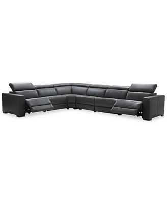 Furniture Nevio 6 Pc Leather L Shaped Sectional Sofa With 2 Power