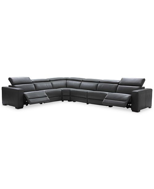 Nevio 6-pc Leather L Shaped Sectional Sofa with 2 Power Recliners and  Articulating Headrests, Created for Macy\'s