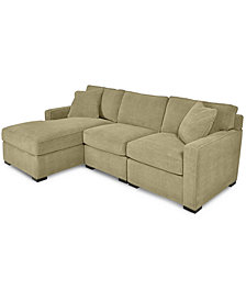 Radley 3-Piece Fabric Chaise Sectional Sofa - Custom Colors, Created for Macy's