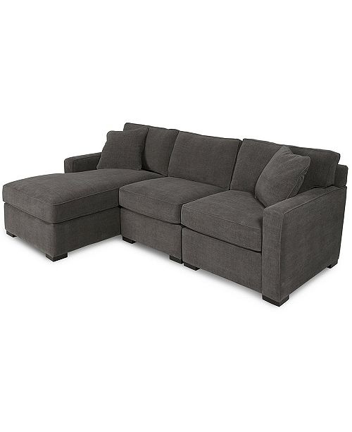 3 Piece Fabric Chaise Sectional Sofa