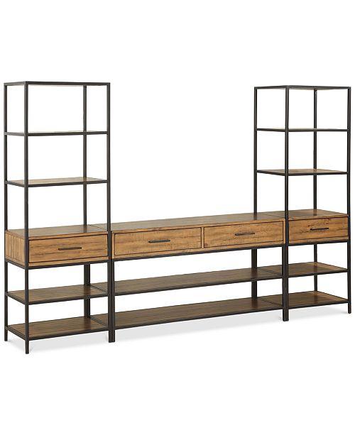 Macys Last Brand Standing >> Furniture Gatlin Entertainment 3 Pc Wall Unit Tv Stand 2 Piers