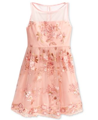 Image of Crystal Doll Embroidered Floral-Mesh Dress, Big Girls (7-16)