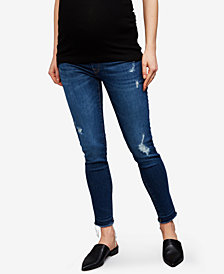 DL 1961 Maternity Distressed Medium Wash Skinny Jeans