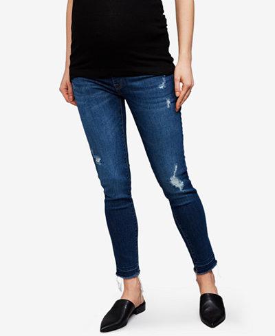 DL 1961 Maternity Distressed Medium Wash Skinny Jeans