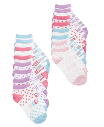 8-Pk. Days Of The Week No-Show Socks, Little Girls & Big Girls, Created for Macy's
