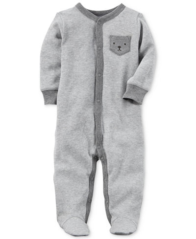 Carter's Baby Boys Bear-Pocket Thermal Footed Cotton Coverall