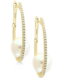 EFFY® Cultured Freshwater Pearl (9mm) & Diamond (1/5 ct. t.w.) Hoop Earrings in 14k Gold