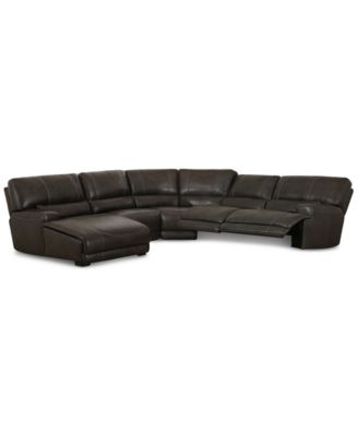 CLOSEOUT! Warrin 5-pc Leather Sectional Sofa with Chaise with 2 Power Recliners