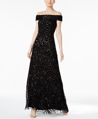 Adrianna Papell Sequined Off-The-Shoulder Gown