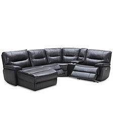 Garraway 5-Pc. Leather Sectional Sofa with Chaise, 2 Power Recliners with Power Headrests, and Console with USB Power Outlet, Created for Macy's