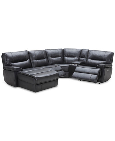Garraway 5 pc leather sectional sofa with chaise 2 power recliners with power headrests and - Leather reclining sectional with chaise ...