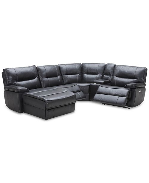 Furniture Garraway 5-Pc. Leather Sectional Sofa with Chaise, 2 Power Recliners with Power Headrests, and Console with USB Power Outlet, Created for Macy's