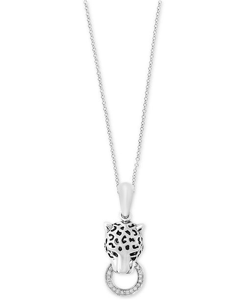 14a30726b EFFY Collection Signature by EFFY® Diamond Panther Head Pendant Necklace  (1/8 ct