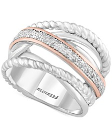 Balissima by EFFY® Diamond Rope Twist Ring (1/10 ct. t.w.) in Sterling Silver and 14k Rose Gold