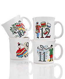 Fiesta Twelve Days of Christmas Set of 4 Mugs, Third series in a series of Three