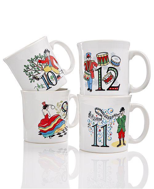 Fiesta Twelve Days of Christmas Set of 4 Mugs, Third series in a series of Three
