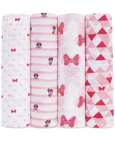 aden by aden + anais 4-Pk. Minnie Mouse Cotton Swaddle Blankets, Baby Girls