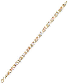 Tri-Color Satin Finish Link Bracelet in 10k Gold, White Gold & Rose Gold