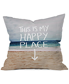 "Deny Designs Leah Flores Happy Place Beach 16"" Square Throw Pillow"