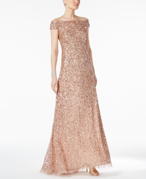 Adrianna Papell Sequined Off The Shoulder Gown In Rose Gold