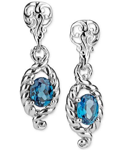 Blue Topaz Drop Earrings (2-3/8 ct. t.w.) in Sterling Silver