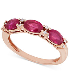 Certified Ruby (1-9/10 ct. t.w.) and Diamond Accent Ring in 14k Rose Gold