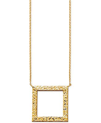 Macys Textured Open Square Pendant Necklace In 14k Gold Necklaces