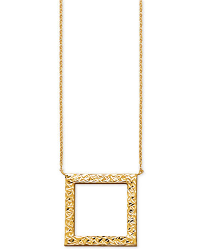 Textured open square pendant necklace in 14k gold necklaces textured open square pendant necklace in 14k gold aloadofball Images