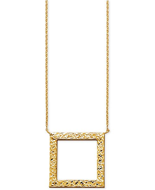 Macys textured open square pendant necklace in 14k gold necklaces main image aloadofball Choice Image