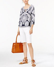 I.N.C. Printed Top, Bermuda Shorts, Bracelet, Satchel & Sandals, Created for Macy's