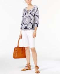 INC International Concepts Printed Top, Bermuda Shorts, Bracelet, Satchel & Sandals, Only at Macy's