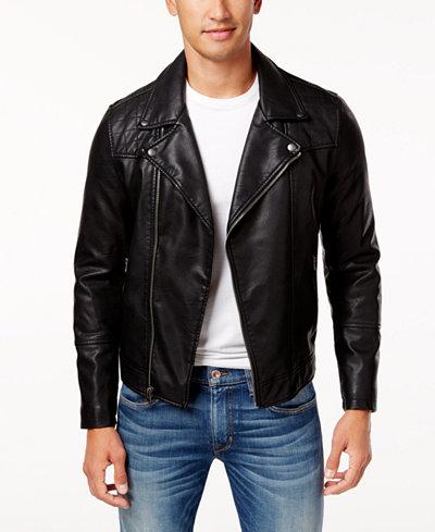 Levi's® Men's Faux-Leather Moto Jacket - Coats & Jackets - Men ...