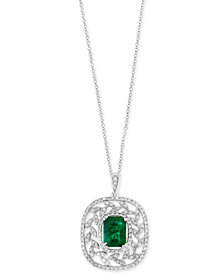 Final Call by EFFY® Emerald (1-3/8 ct. t.w.) & Diamond (1/2 ct. t.w.) Pendant Necklace in 14k White Gold