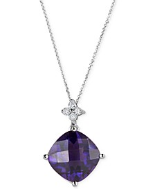 Amethyst (5 ct. t.w.) & Diamond (1/10 ct. t.w.) Pendant Necklace in 14k White Gold