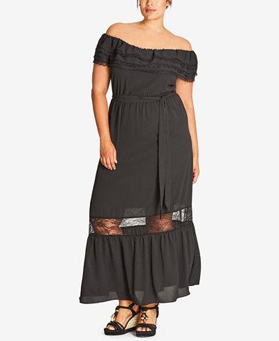 City Chic Trendy Plus Size Lace-Inset Peasant Dress